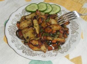 мидии с овощами