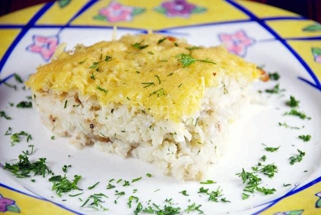 запеканка из рыбы с рисом