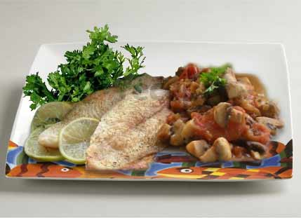 морская рыба запеченная с грибами