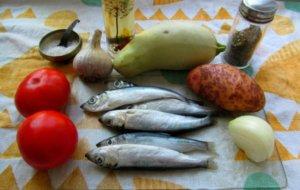 Салака и овощи для тушения