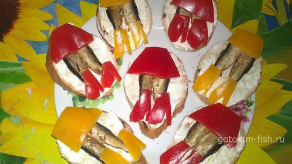 Бутерброды со шпротамы