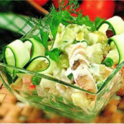Салат из осетрины с маринованными грибами