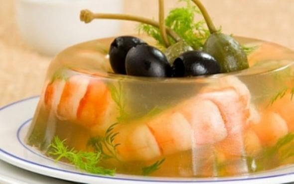 заливное из креветок и маслинами